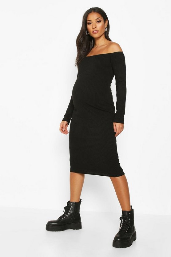 Womens Black Maternity Bardot Long Sleeve Rib Midi Bodycon Dress