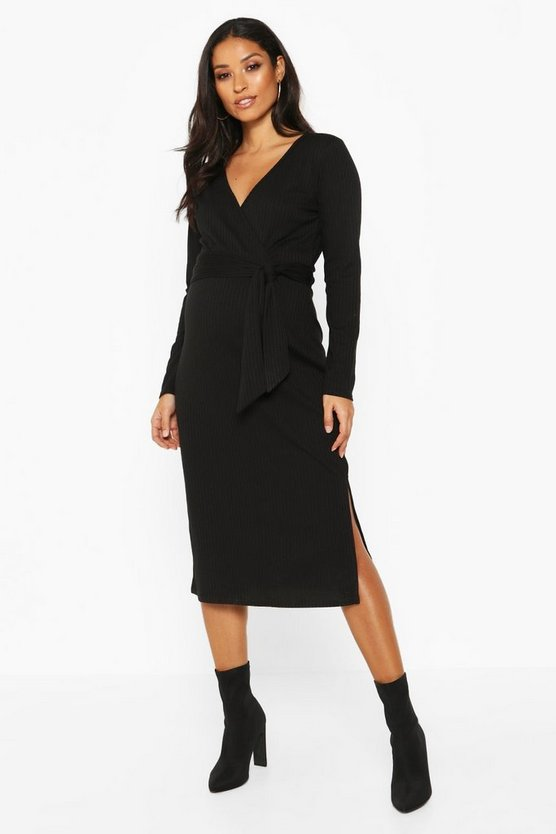 Womens Black Maternity Tie Waist Side Split Rib Wrap Midi Dress
