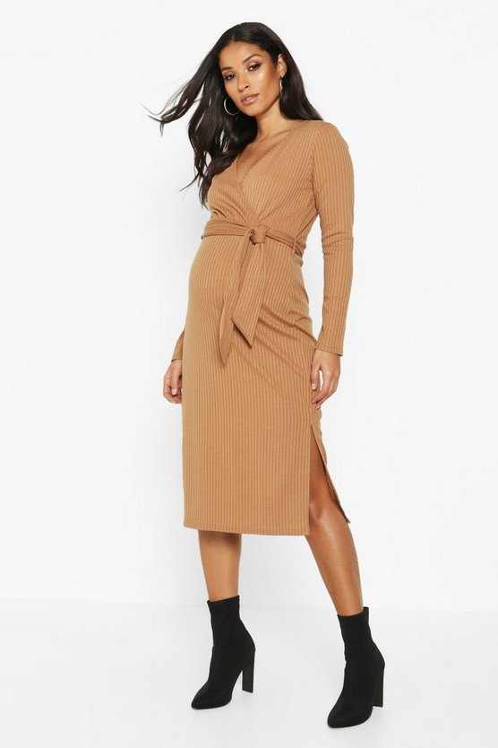 Womens Camel Maternity Tie Waist Side Split Rib Wrap Midi Dress