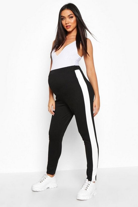 Black Maternity Side Stripe Tapered Trouser