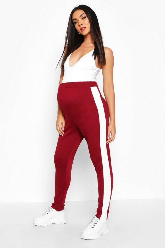 Womens Wine Maternity Side Stripe Tapered Trouser