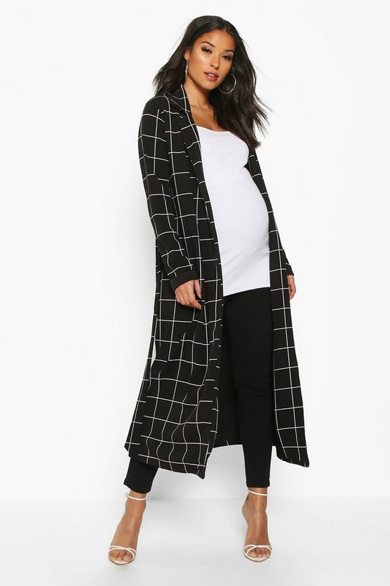 Womens Black Maternity Check Duster Jacket