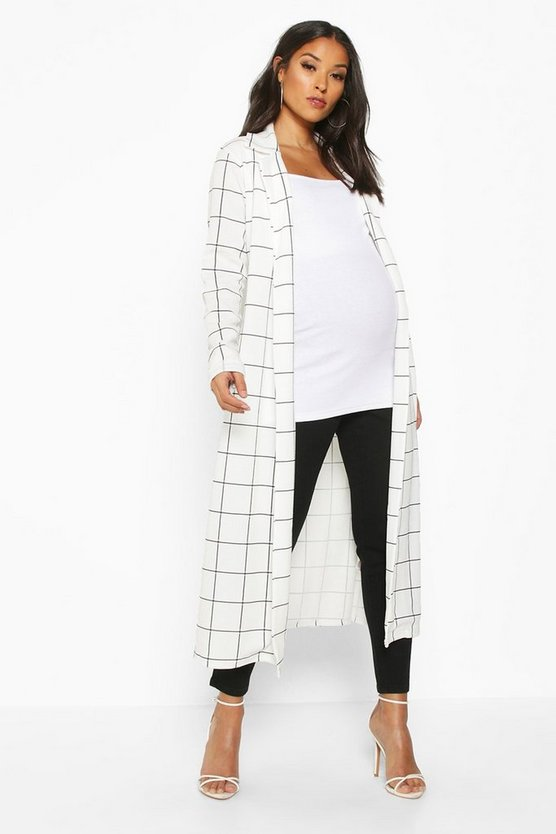 Womens Cream Maternity Check Duster Jacket