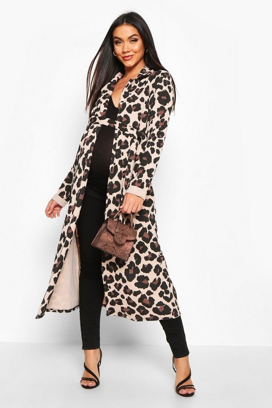 Womens Tan Maternity Leopard Print Duster Jacket