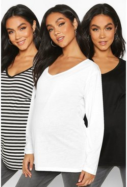 Womens Black Maternity 3 Pack Long Sleeve Tops