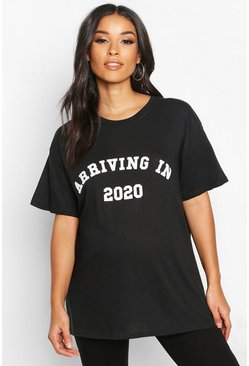 Womens Black Maternity 'Arriving In 2020' Slogan Tee