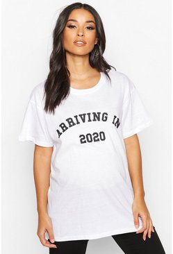 Dam White Maternity 'Arriving In 2020' Slogan Tee