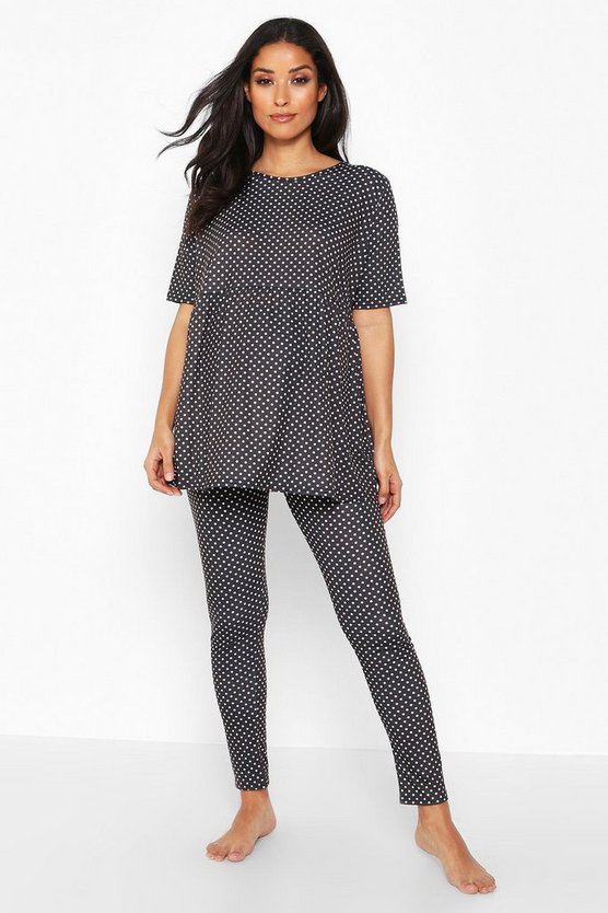 Womens Black Maternity Polka Dot Smock PJ Trouser Set