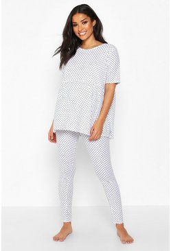 Womens White Maternity Polka Dot Smock PJ Trouser Set