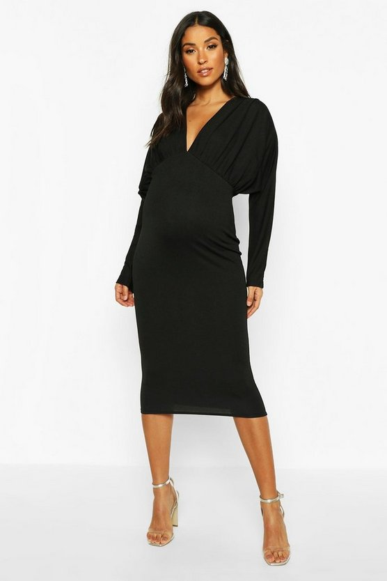 Womens Black Maternity Batwing Pleated Midi Bodycon Dress