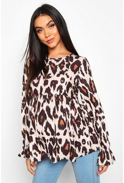 Womens Tan Maternity Leopard Print Smock Top