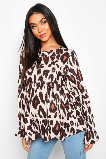 Tan Maternity Leopard Print Smock Top