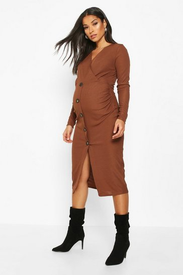 Womens Chocolate Maternity Wrap Rib Button Front Midi Dress