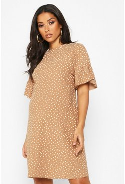 Womens Mocha Maternity Polka Dot Frill Detail Shift Dress