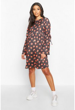 Dam Black Maternity Floral Polka Dot Shift Dress
