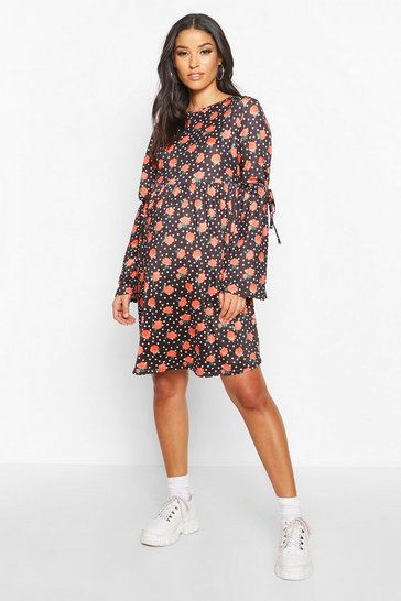 Black Maternity Floral Polka Dot Shift Dress
