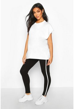 Womens Black Maternity Side Stripe Legging