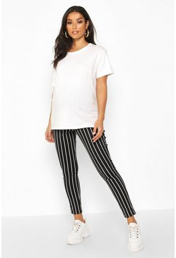 Womens Black Maternity Pinstripe Leggings