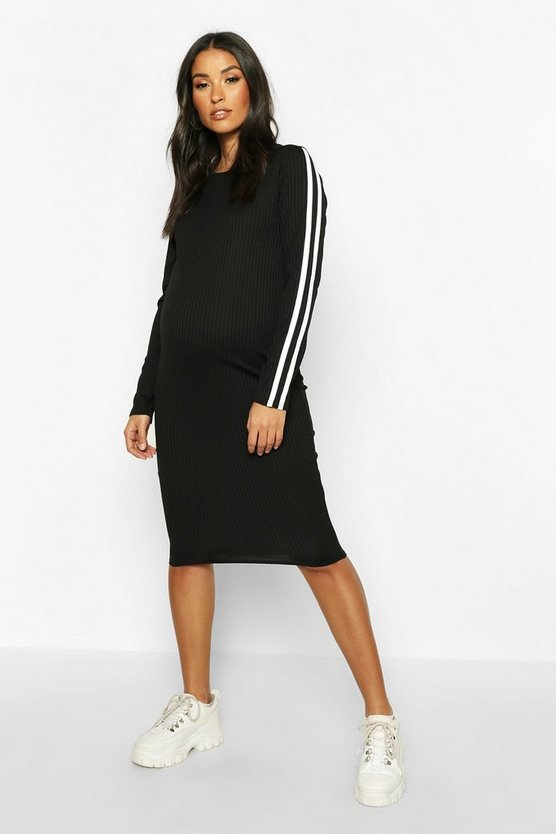 Womens Black Maternity Long Sleeve Stripe Rib Bodycon Dress
