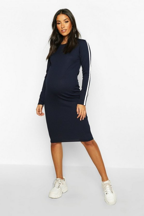 Navy Maternity Long Sleeve Stripe Rib Bodycon Dress