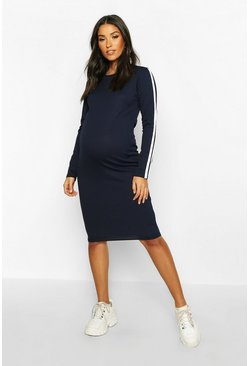 Womens Navy Maternity Long Sleeve Stripe Rib Bodycon Dress
