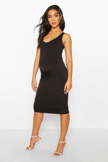 Womens Black Maternity Double Layer Slinky Bodycon Dress