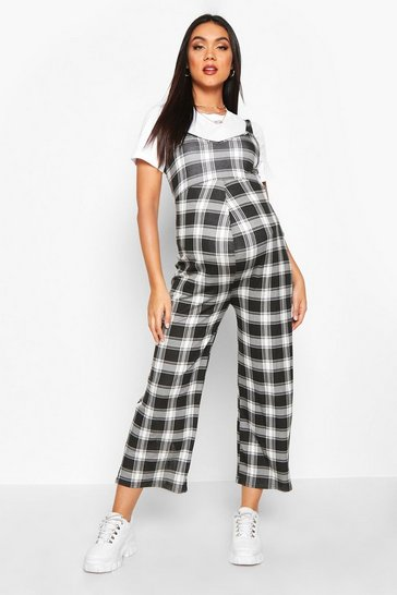 Womens Black Maternity Check Pinafore Culotte Jumpsuit