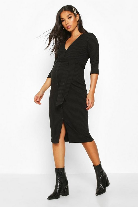 Black Maternity Button Front Tie Waist Rib Midi Dress