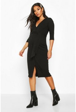 Womens Black Maternity Button Front Tie Waist Rib Midi Dress