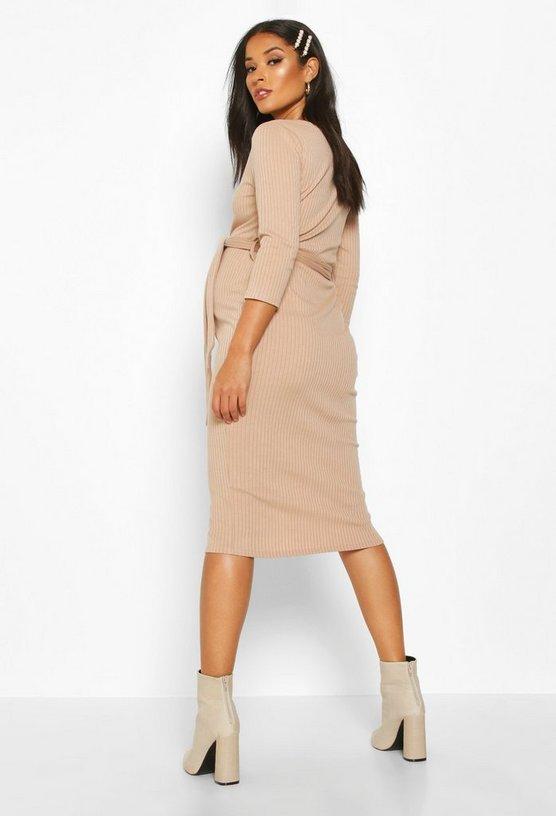 Maternity Button Front Tie Waist Rib Midi Dress