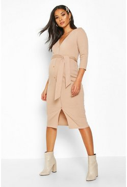 Sand Maternity Button Front Tie Waist Rib Midi Dress