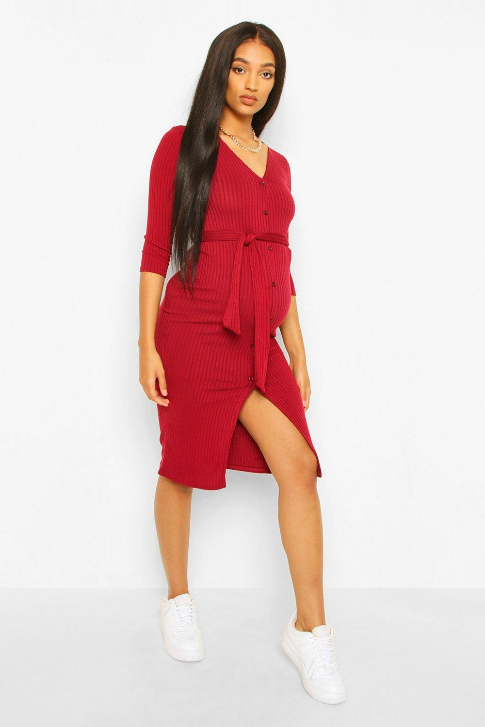 Vintage Maternity Dresses and Clothes Womens Maternity Button Front Tie Waist Midi Dress - Red - 12 $16.80 AT vintagedancer.com
