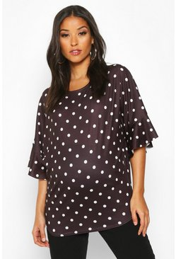Black Maternity Polka Dot Frill T-shirt