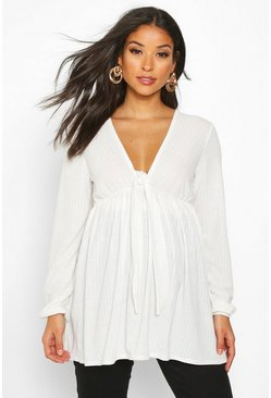 Ivory Maternity Tie V Neck Rib Smock Top