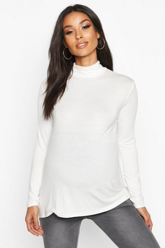 Cream Maternity High Neck Long Sleeve Swing Top