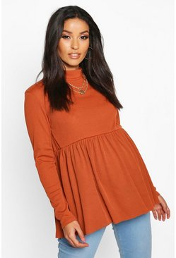 Rust Maternity High Neck Smock Top