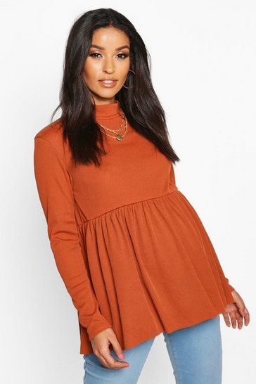Womens Rust Maternity High Neck Smock Top