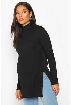 Womens Black Maternity High Neck Side Split Tunic