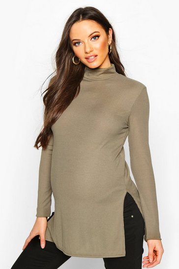 Womens Khaki Maternity High Neck Side Split Tunic