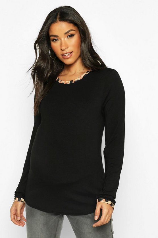 Black Maternity Leopard Ringer Long Sleeve Top