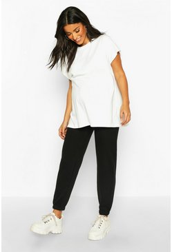 Womens Black Maternity Basic Loopback Jogger