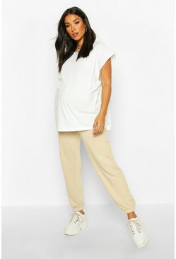 Womens Stone Maternity Basic Loopback Jogger