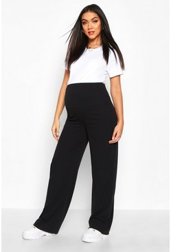 Womens Black Maternity Rib Wide Leg Lounge Trouser