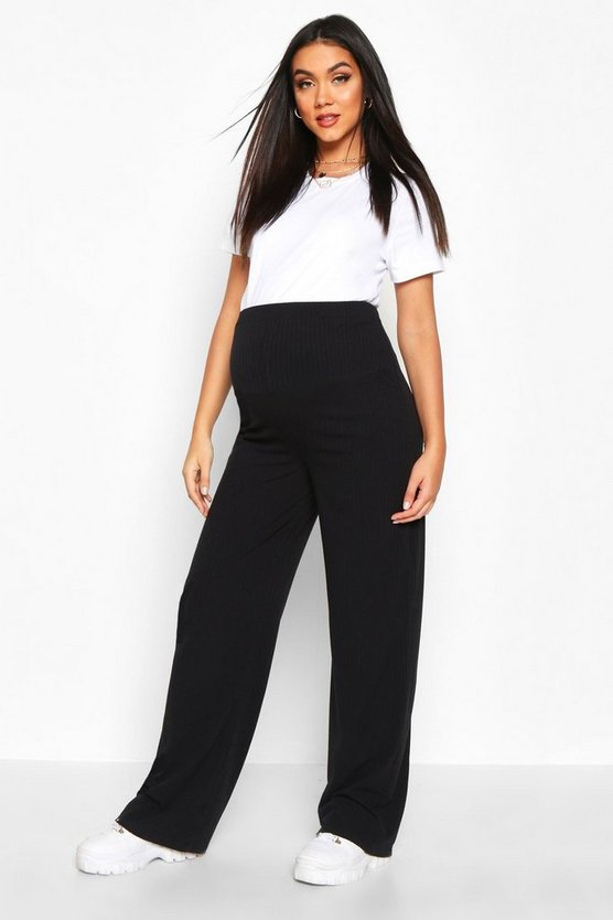 Dam Black Maternity Rib Wide Leg Lounge Trouser