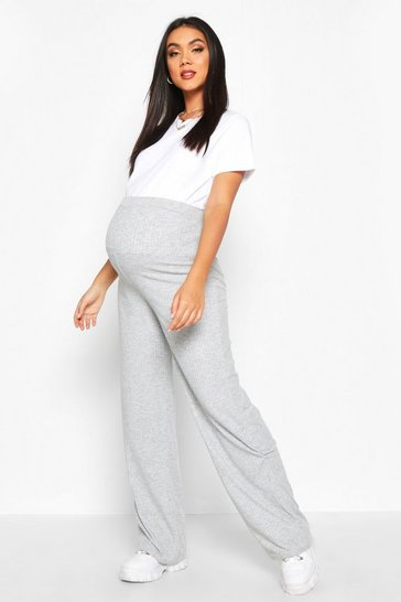 Womens Light grey Maternity Rib Wide Leg Lounge Trouser