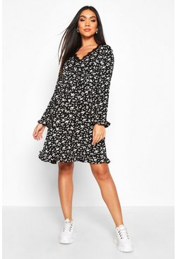 Black Maternity Lace Trim Ditsy Floral Dress
