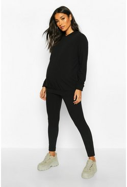 Womens Black Maternity Soft Rib Hoody + Legging Lounge Set