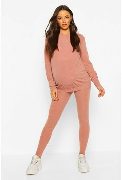 Womens Dusky pink Maternity Soft Rib Hoody + Legging Lounge Set