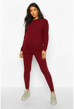 Wine Maternity Soft Rib Hoody + Legging Lounge Set