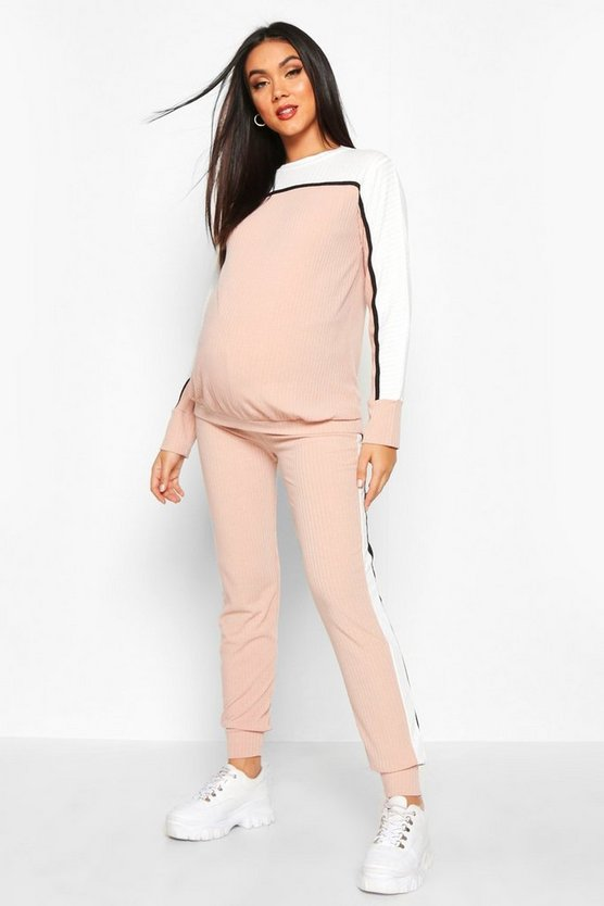 Blush Maternity Colour Block Rib Lounge Set